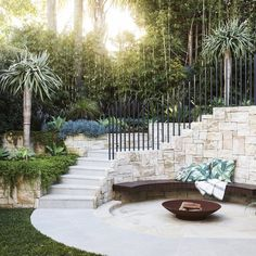 Backyard Landscaping Ideas - Bellevue Hill - Hilltop Retreat - Growing Rooms - Landscapes For Outdoor Living Patio Tropical, Tropical Landscaping, Backyard Landscaping, Landscaping Ideas, Sloped Backyard, Patio Ideas, Outdoor Rooms, Outdoor Gardens, Outdoor Living