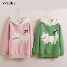 V-TREE Fleece Girls Sweatshirt Winter Girl Tops Ears Rabbit Hooded Outerwear Children T-shirt For Girls Shirts Brand Clothing //Price: $25.80 //     #kids