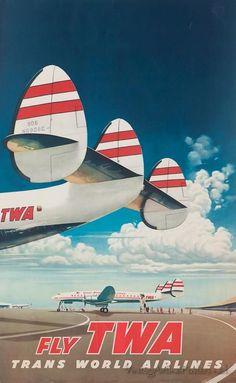 Propaganda da TWA com o Constelation, o mais bonito avião comercial a hélice que já existiu. No Brasil foi operado pela Panair, Real e posteriormente pela Varig. Foi suplantado pelo Caravelle e pelo Boeing 707, ambos a jato.