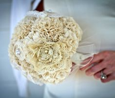 A handmade, vintage bridal bouquet using your vintage wedding-dress lace from the ladies in your life! Lace Bouquet, Fabric Bouquet, Brooch Bouquets, Fabric Flowers, Lace Fabric, Lace Flowers, Flower Bouquets, Cotton Bouquet, Cotton Fabric