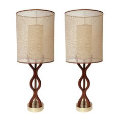 Pair of Mid Century Sculpted Wood Table Lamps by TheModernHistoric