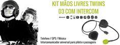 TWIINS D3   KIT MÃOS LIVRES C/ INTERCOM Graças à funcionalidade de intercomunicação, fale com o passageiro, escute a sua música favorita e atenda as suas chamadas enquanto viaja na sua moto. O Kit de mãos livres Twiins® D3 com INTERCOM é compatível com todos os telefones móveis, Smartphones e outros intercomunicadores Bluetooth®.  #lusomotos #twiins #d3 #kitmãoslivres #intercom #comunicação #música #gps #bluetooth