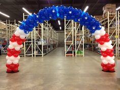 Red, white and blue balloon arch House Party Decorations, Patriotic Decorations, Balloon Decorations, Party Themes, Balloon Ideas, Ballon Arch, Balloon Columns, Rainbow Balloons, Blue Balloons