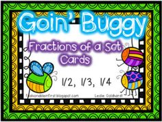Don't let fractions bug your kiddos...or you!  This set includes picture cards, numeric cards, and word cards for 1/3, 1/4, and 1/2. The picture cards are all fractions of a set (ex: 2 of 8 = 1/4).  There are 36 cards in all!Enjoy! :)