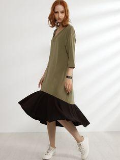 V Neck Asymmetrical Hems Color Block Patchwork Shift-dress
