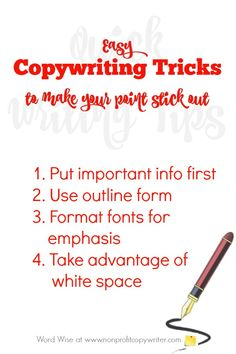 Use these easy copywriting tricks to make your point stick out with Word Wise at Nonprofit Copywriter Persuasive Writing Techniques, Writing Topics, Fiction Writing, Writing Resources, Writing Skills, Writing Ideas, Space Words, Freelance Writing Jobs, Copywriter