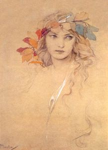 Girl's Head with Laurel Twig - Mucha. I have this on my wall. <:((((><(