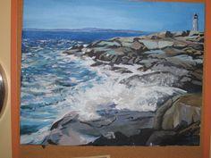 Peggy's cove light from the black rocks Cove Lighting, Black Rock, Nova Scotia, Art Oil, Oil Paintings, Rocks, Hidden Lighting, Oil On Canvas, Stone