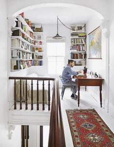 Pablo enjoys reading and would like a place that has good lighting to study and work. BY LAURA KOSTELNY http://www.countryliving.com/home-design/house-tours/gmp3989/study-in-contrast/
