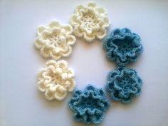 Six crochet flowers double layer flower appliques by EstersDoilies #crochet #appliques