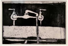 Richard Diebenkorn  Running Water Faucet, 1964. Aquatint and drypoint (1922-1993) Crown Point Press. de Young Museum