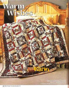 Warm wishes :  Pages 14, 15 & 16 on the right side of the page; This looks very simple in the instructions, on the scale of a beginner I'm guessing. Just look at it, it's beautiful and looks complicated in the picture. An intermediate could probably do this in a weekend . . . happy quilting !