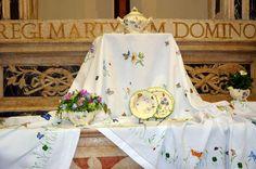 "One of handmade tablecloths by ""la Bottega di Simona"""