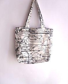 Large tote bag, shopping bag, book bag , subway print fabric. via Etsy.