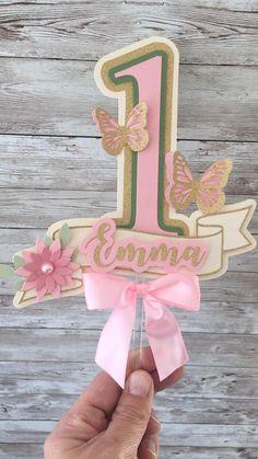 Baby Girl Birthday Theme, Butterfly Birthday Cakes, Butterfly Garden Party, Butterfly Birthday Party, Girl Birthday Decorations, Baby Birthday Cakes, Butterfly Cakes, Happy Birthday Cake Topper, Fairy Birthday
