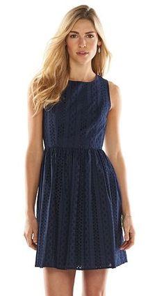 LC Lauren Conrad Eyelet Fit & Flare Dress - Women's
