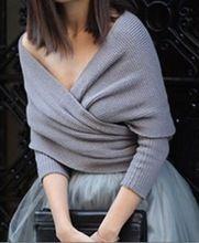 Mulheres outono inverno moda manga comprida cruz cortadas xale Knit camisola do pulôver blusa OM483