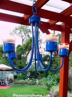 Why have I never seen this type of chandelier for sale? Recycling to create an Outdoor Chandelier Chandelier Makeover, Outdoor Chandelier, Iron Chandeliers, Candle Chandelier, Outdoor Lighting, Outdoor Decor, Chandelier Ideas, Outdoor Ideas, Outdoor Spaces