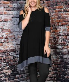 Look what I found on #zulily! Black & Gray Cutout Sidetail Tunic - Plus…