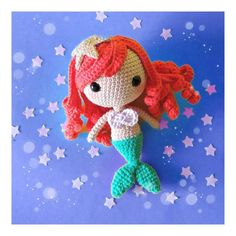 Free amigurumi pattern and knitting crafts models. Crochet Disney, Little Mermaid Crochet, Knitted Dolls, Crochet Dolls, Knitting Projects, Crochet Projects, Crochet Amigurumi Free Patterns, Mermaid Dolls, Kawaii