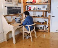 desk transforms, at day's end, into a bar
