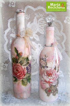 ** Maria Reciclona **: Garrafas decoradas em estilo Vintage