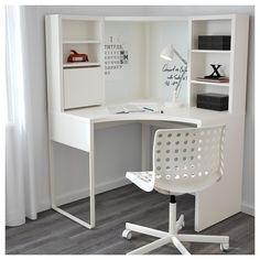 MICKE Corner workstation, white white 39 for dressing room desk in bedroom MICKE Corner workstation - white - IKEA Ikea Linnmon, Ikea Micke, Home Office Design, Home Office Decor, Home Decor, Office Style, Home Design, Corner Workstation, Ikea Corner Desk