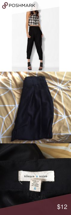 Silence + Noise Silky Harem Pant Black silence + noise silly harem pants. Barely worn from Urban Outfitters. Size 6. 100% polyester. Zipper at bottom of pant leg. Right waist band. Comes from a non smoker house. silence + noise Pants