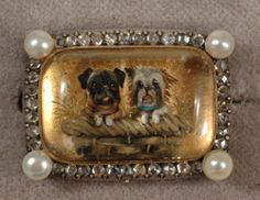 Victorian diamond and pearl  rare double dog Essex Crystal brooch  very collectable 1880c