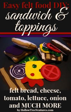 Quick, easy tutorial for adding sandwiches to your felt food kitchen. Includes bread, lettuce, tomato, cheese, onion, PB&J, turkey and MUCH MORE!