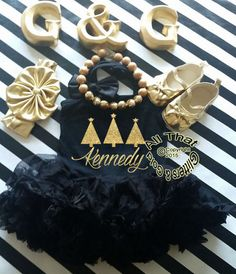 Black+and+Gold+Glitter+Personalized+Christmas+Trees+Tutu+Dress+For+Little+Girls