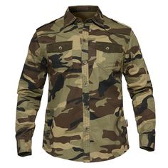2fe7de2630a8e Men s Military Tactical Shirt Army Style Long Sleeve Cotton Shirt Tactical  Clothing For Men - Available in Army Green and Camouflage