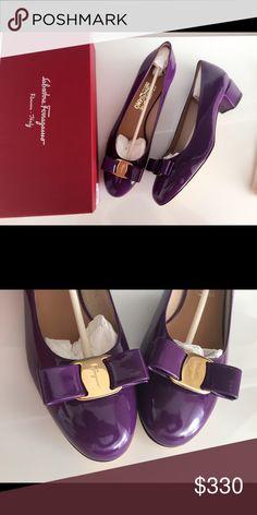 651cc5d725e8c New ferragamo vara bow pump purple size 10 Brand new in box