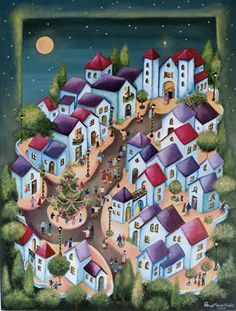 Ana Maria Nale. Pintura naif e infantil. Cuadros originales y laminas. House Quilt Patterns, House Quilts, Buildings Artwork, Mexican Paintings, Storybook Cottage, Naive Art, Art For Art Sake, Landscape Illustration, Tribal Art