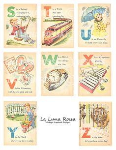 Baby's First ABC - Vintage Illustrated Childrens Alphabet Cards - Nursery - Clip Art - Digital Collage Sheet - Printable Images Vintage, Vintage Design, Vintage Cards, Vintage Numbers, Vintage Clip, Alphabet Cards, Alphabet And Numbers, Printable Alphabet, Free Printable
