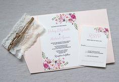 Lace Wedding Invitations Floral Bohemian Wedding by LoveofCreating