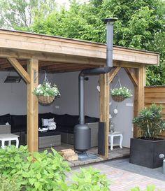 Luxury veranda with wood burner Backyard Patio, Backyard Landscaping, Garden Gazebo, Landscaping Design, Diy Patio, Back Gardens, Outdoor Gardens, Outdoor Rooms, Outdoor Living