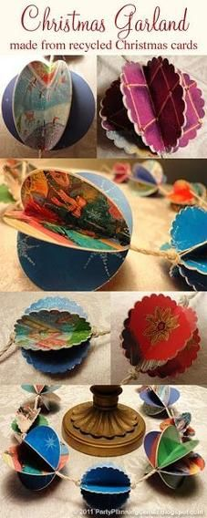 Carla Chadwickshares her inspiration for what to do with leftover cards on her Party Planning blog. This gorgeous upcycle project can turn cards into garlands, ornaments, or party table decorations!  Photo  via Party Planning Center