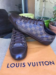 1d1a8bed4ed0 AUTH LOUIS VUITTON MENS SHOES SNEAKERS DAMIER US SIZE 10 MADE IN ITALY   fashion
