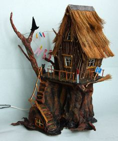 Miniature Light House - Shack Witches - by Beyonce Alexandrova Fairy House Crafts, Fairy Tree Houses, Clay Fairy House, Gnome House, Fairy Garden Houses, Cardboard Box Houses, Cardboard Crafts, Miniature Crafts, Miniature Houses