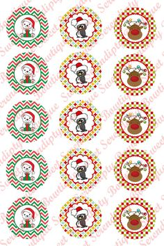 Cute Christmas Animal Digital Bottle Cap by SweetSerendipityBowz, $1.25