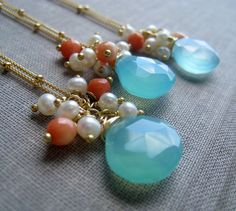 set of 3 bridal jewelry set Aqua Blue chalcedony by thejewelrybar