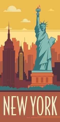 KAKÉMONODÉCO - Illustration de la ville de New York revisité en mode vintage dans un style graphique et géométrique - Décor mural