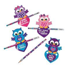 Valentine+Owl+Valentine+Cards+with+Pencils+-+OrientalTrading.com
