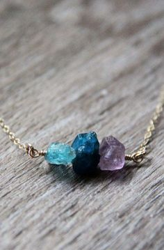 Raw Amethyst Necklace, Natural Apatite