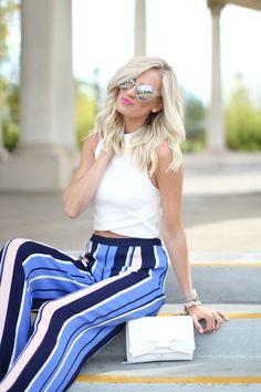 Striped Wide Leg Pants - Mckenna Bleu
