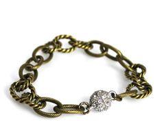 Textured Bronze Chain Bracelet #elladesigns #bohochic #bracelet #styleshack