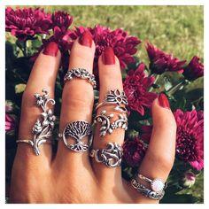 Sterling Silver Om, Tree of Life, Leaf, Flower Rings ❤️