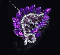 7.2x3.7cm Purple Trendy Peacock Tail Spread Paved Crystal Lady Pin Brooch Rhinestone #eozy