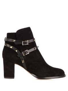 Rockstud-trimmed suede ankle boots  | Valentino | MATCHESFASHION.COM UK